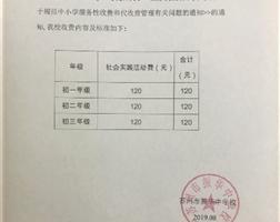 2019-2020年度第一学期收费公示
